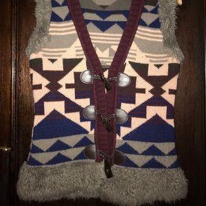 Aztec Pattern/Faux Fur Trim Vest